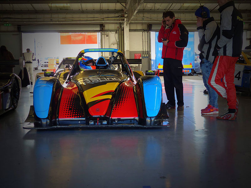 Radical SR3 in the pit garage